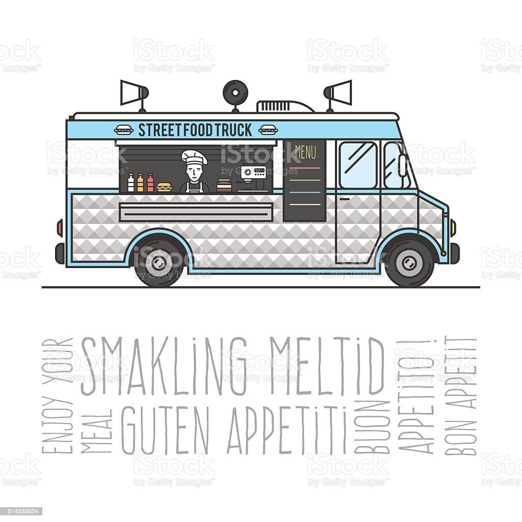 Hot street food mobile truck vector art illustration