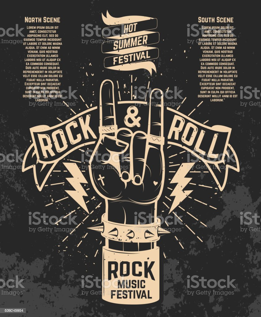 Hot summer festival. Human hand with rock and roll sign. vector art illustration