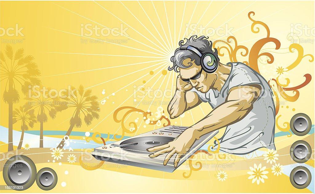 DJ Hot Summer Music Jam vector art illustration