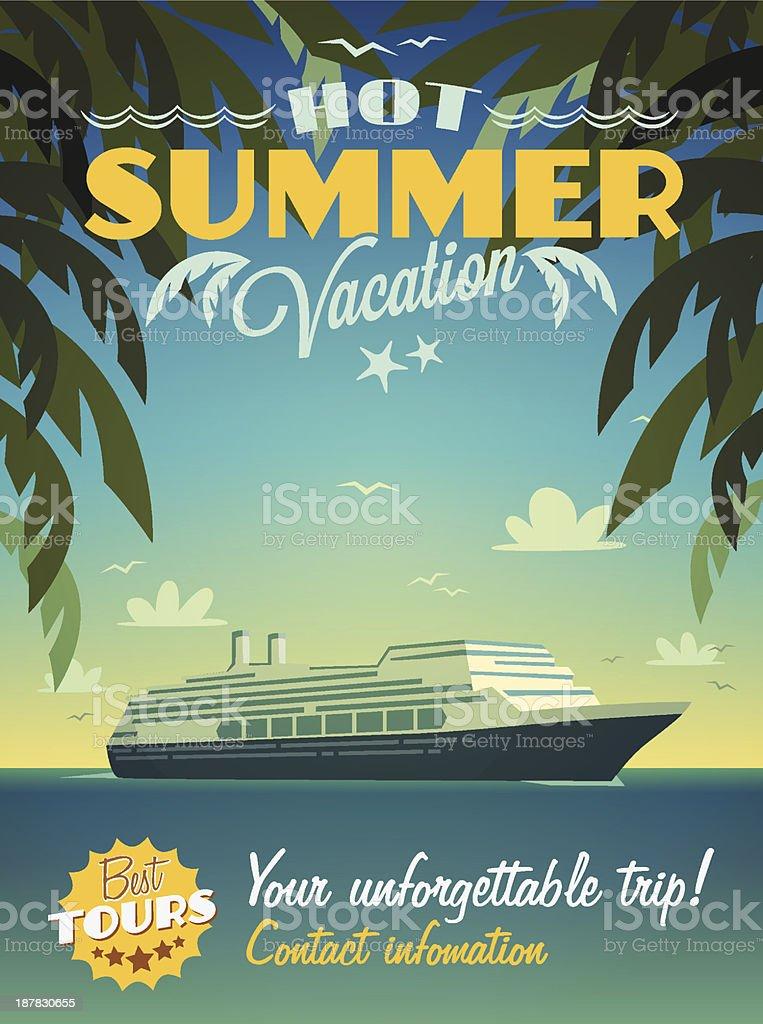 Hot summer vacation poster stock photo