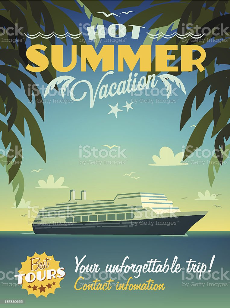 Hot summer vacation poster vector art illustration