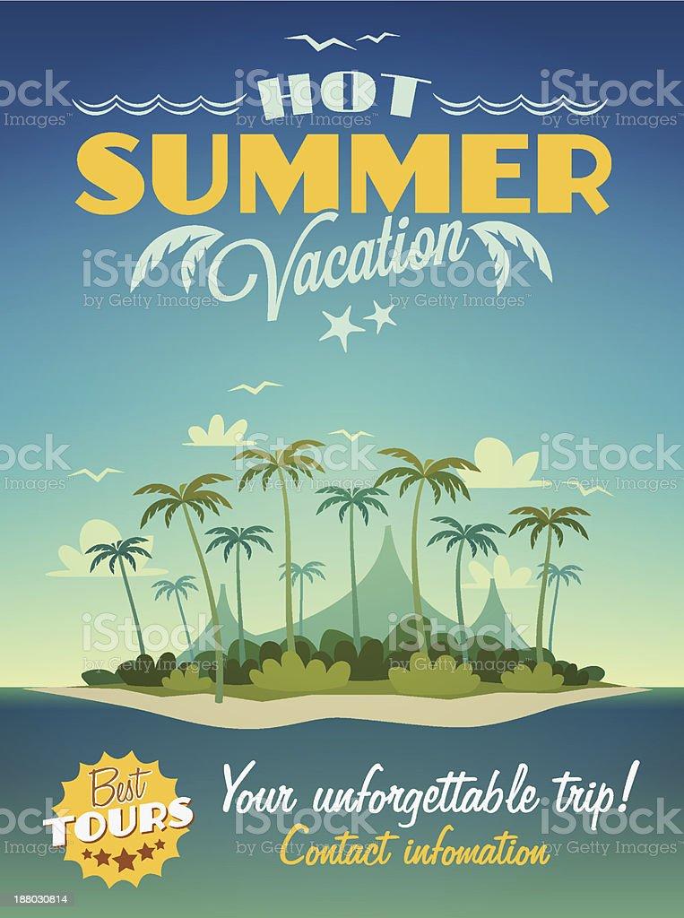 Hot summer vacation poster vector art illustration