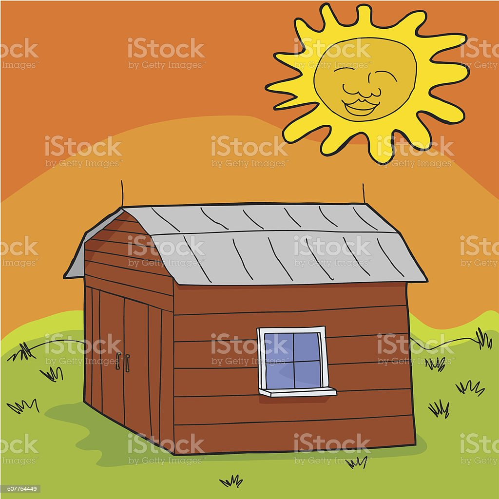 Hot Sun Over Shed royalty-free stock vector art