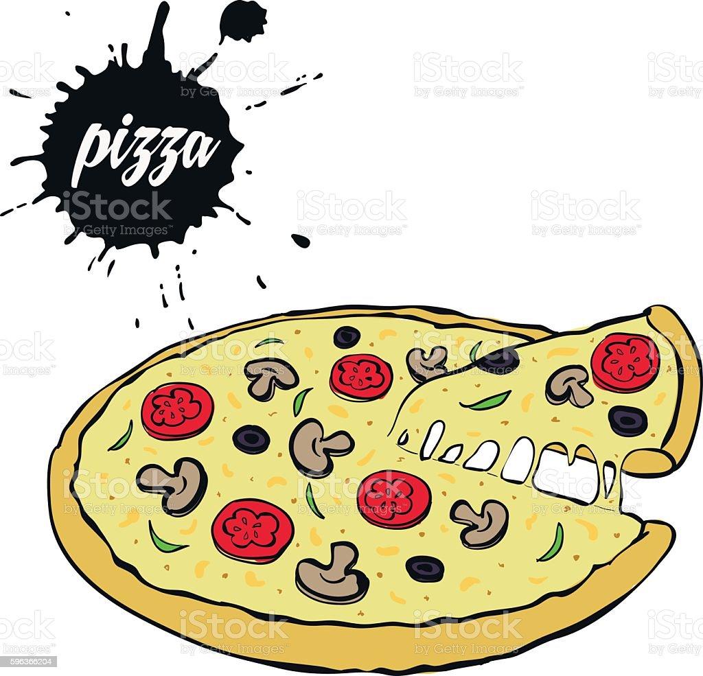hot tasty pizza stock vecteur libres de droits libre de droits