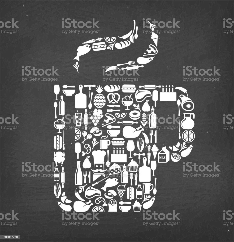 Hot tea cup Food & Drink royalty free vector pattern. This image...
