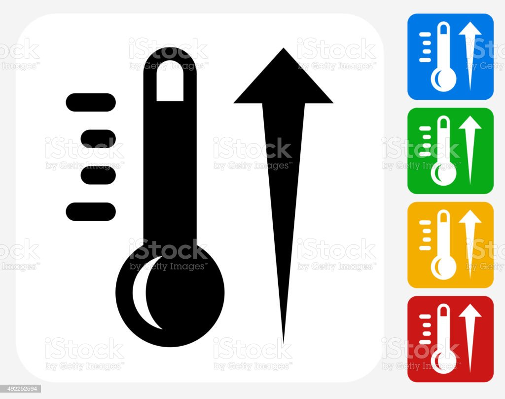 Hot Thermometer Icon Flat Graphic Design vector art illustration