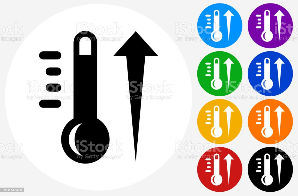 Hot Thermometer Icon on Flat Color Circle Buttons vector art illustration