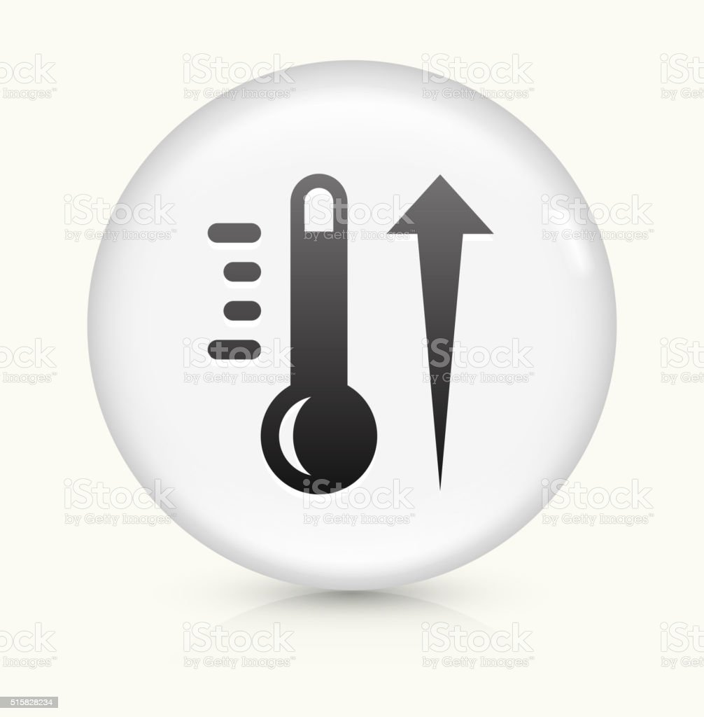 Hot Thermometer icon on white round vector button vector art illustration