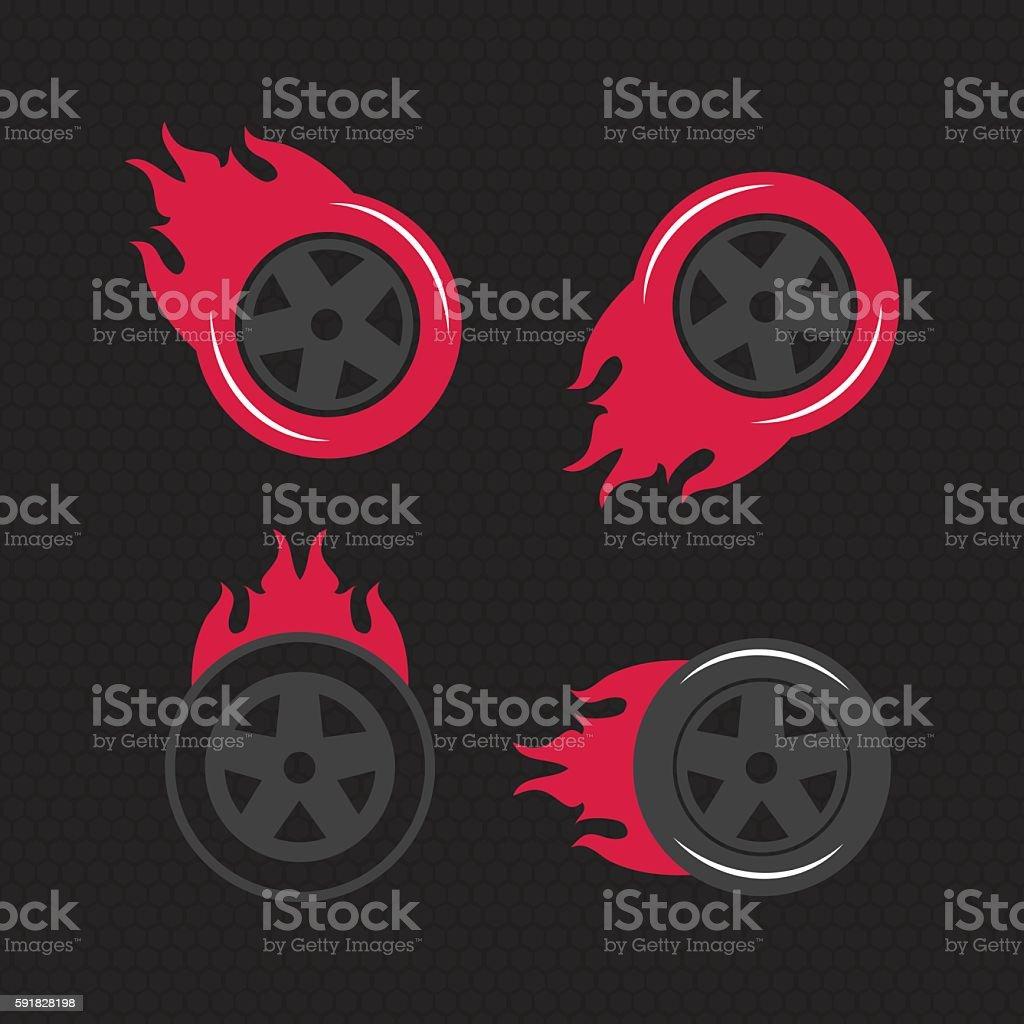 Hot wheel, Racing flat labels set. Blaze and flash logo vector art illustration
