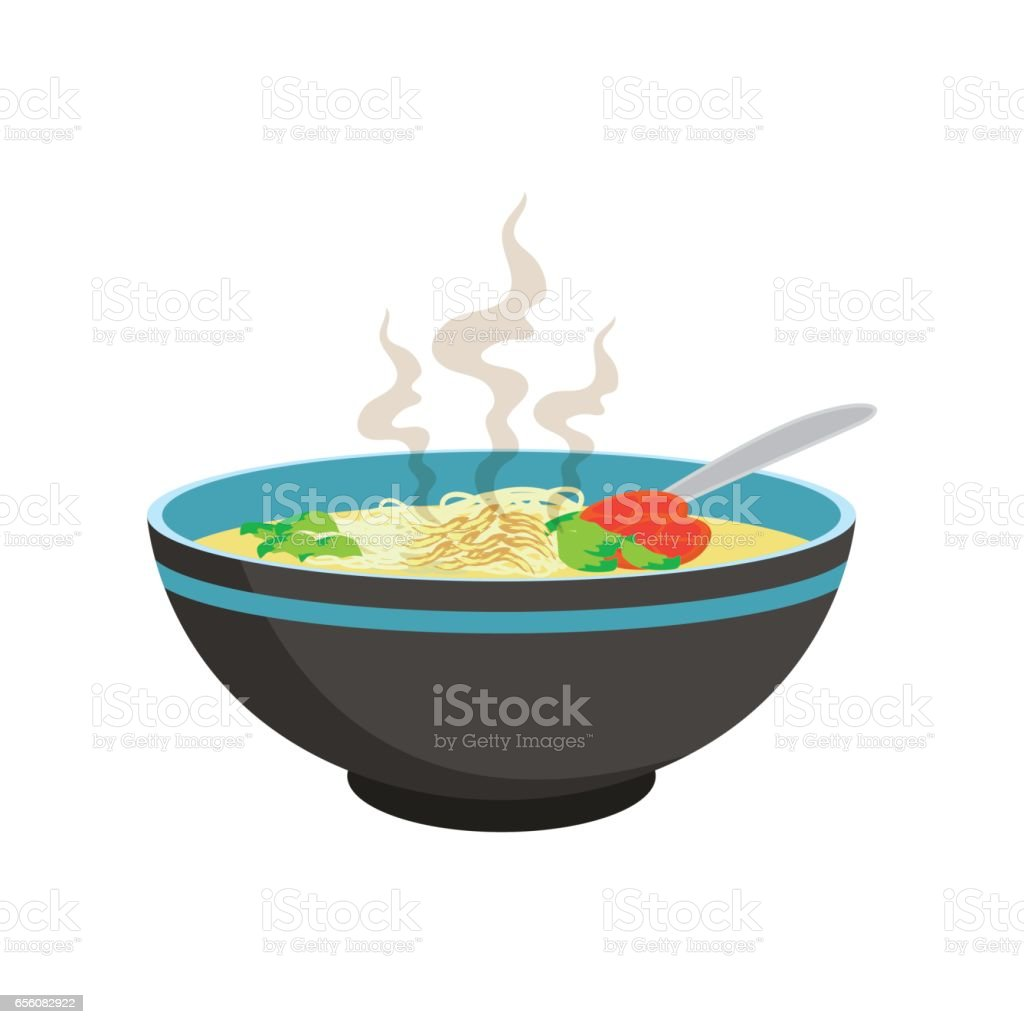 hot white noodle soup with vegetable in chinese bowl and spoons vector art illustration