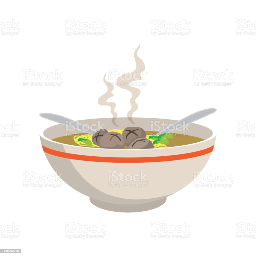 hot yellow noodle soup with meat balls in chinese bowl vector art illustration