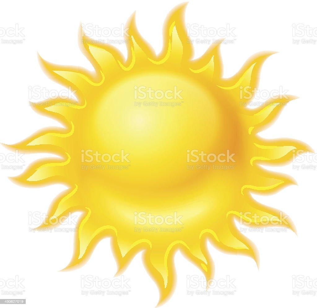 Hot yellow sun icon isolated royalty-free stock vector art