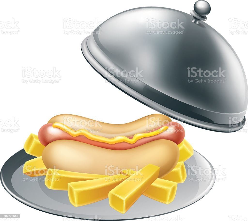 Hotdog and Fries on Platter vector art illustration