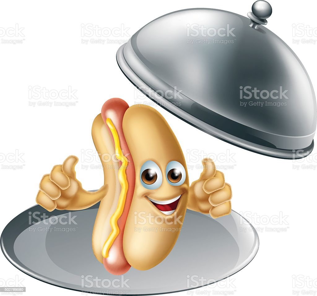 Hotdog Cartoon Character vector art illustration