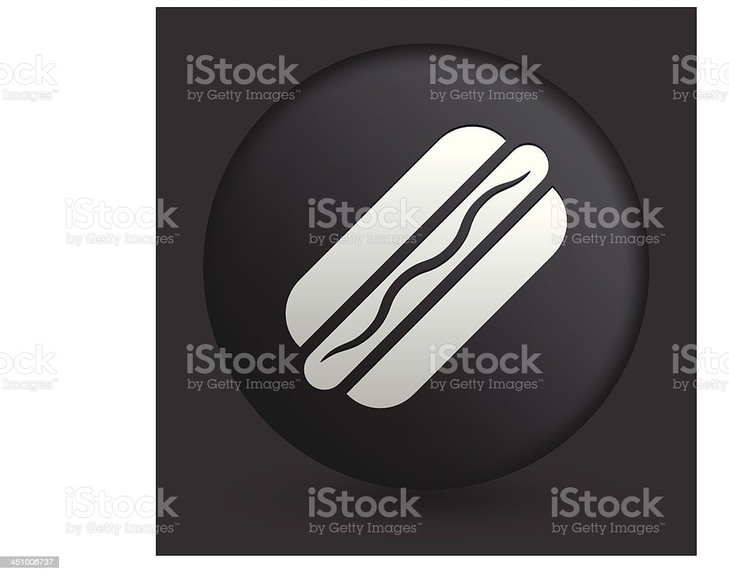 Hotdog Icon on Round Black Button Collection royalty-free stock vector art