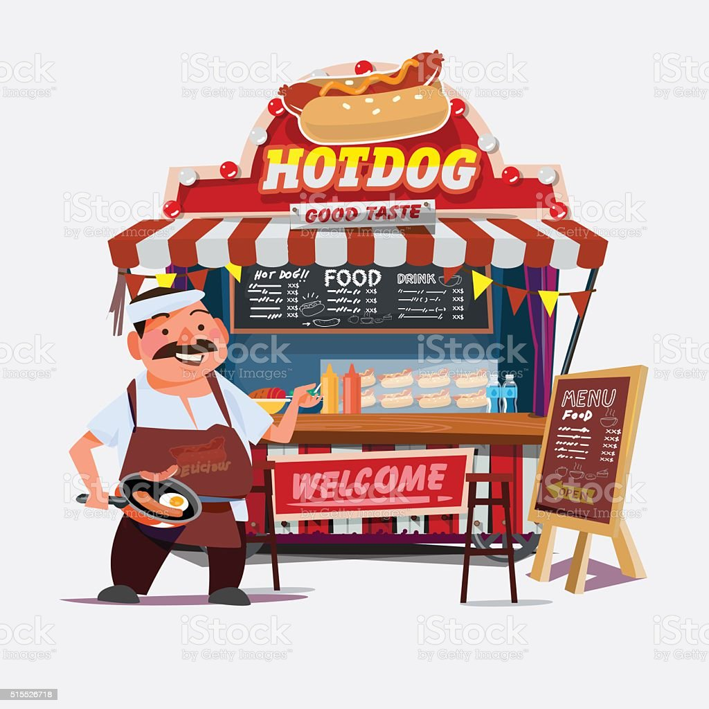 hot-dog outdoor cart with seller. vector art illustration