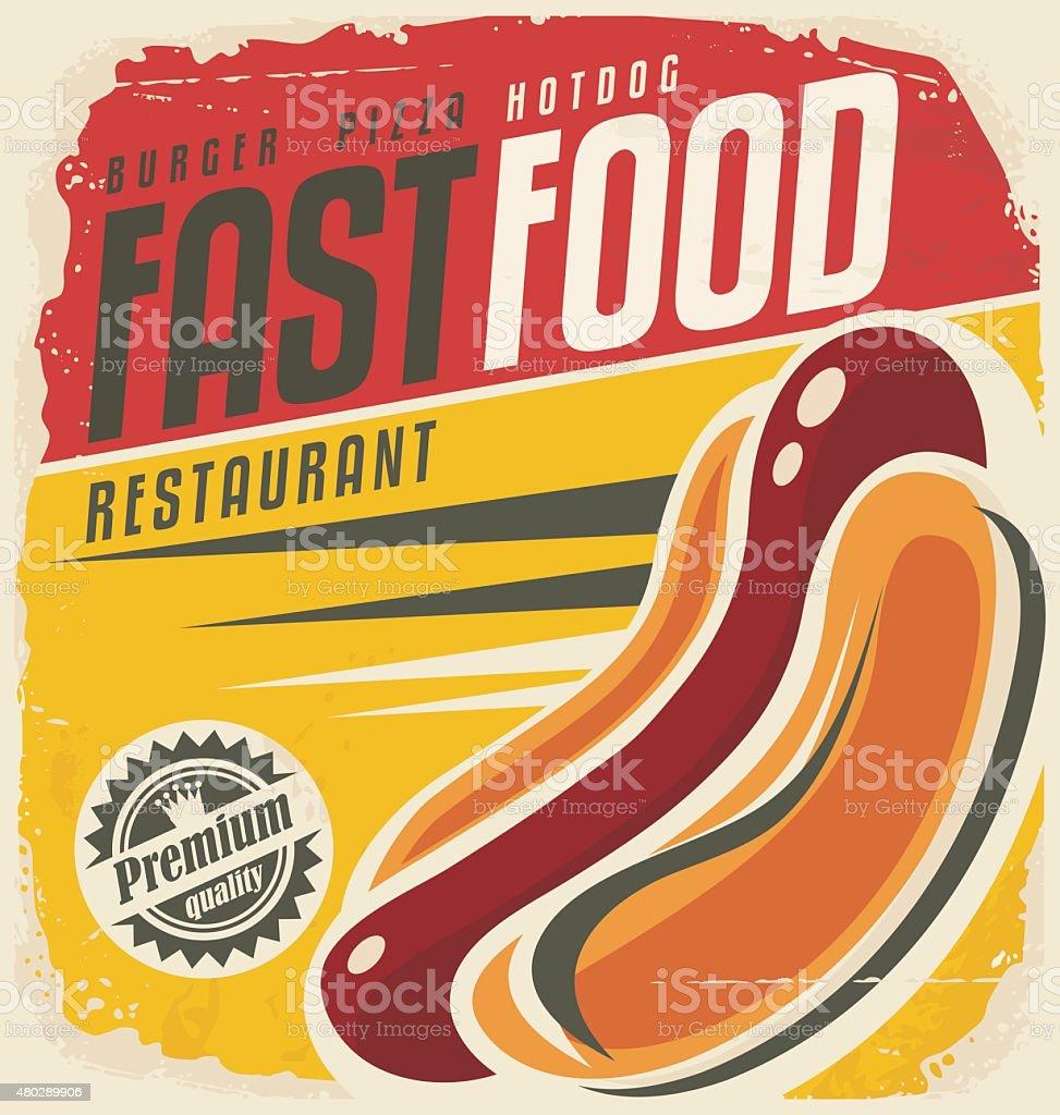 Hotdog retro poster design concept vector art illustration