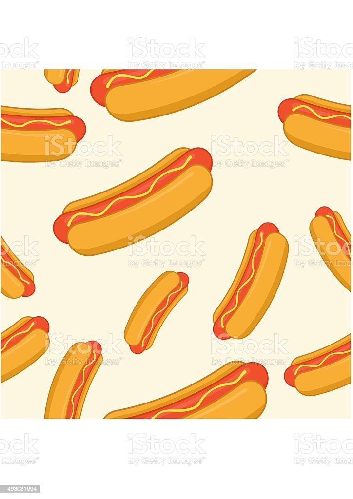 Hot-Dog seamless pattern. Vector Illustration. vector art illustration