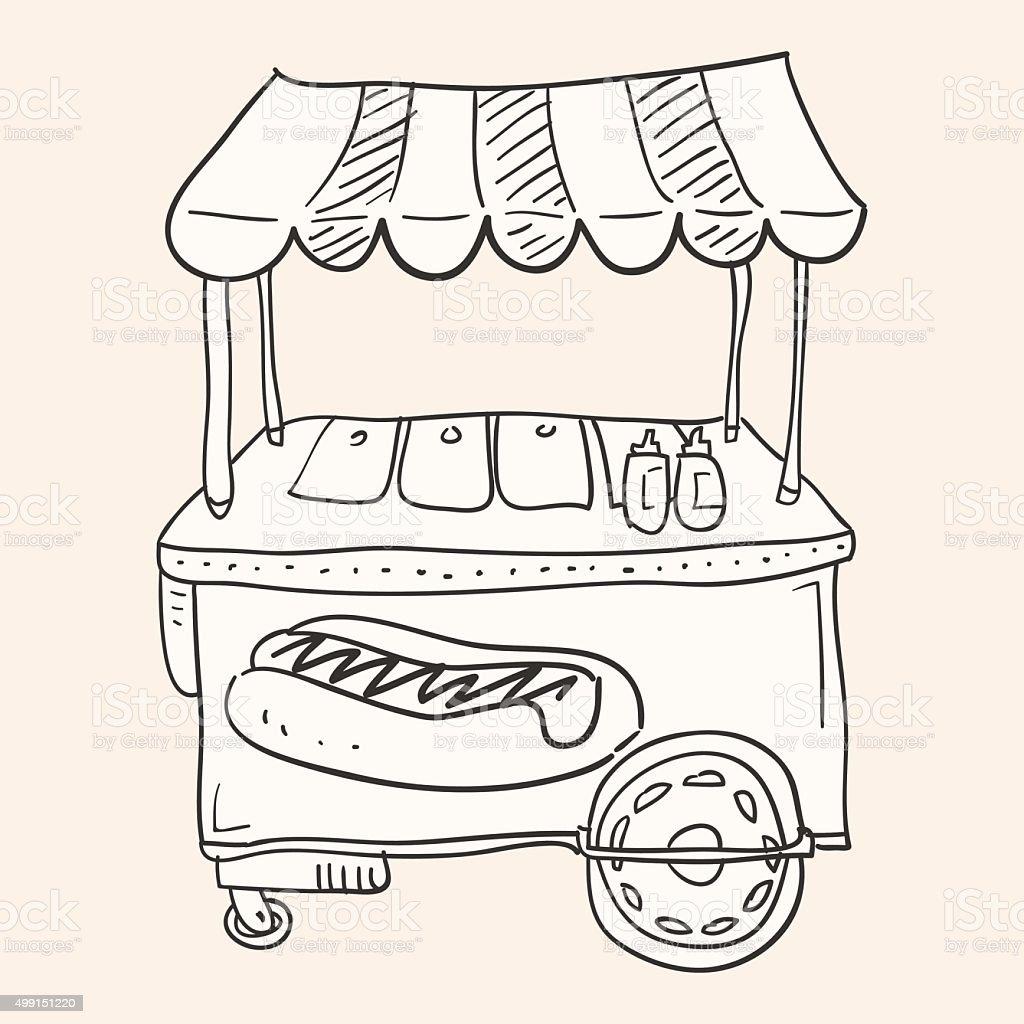 Hotdog Stand vector art illustration