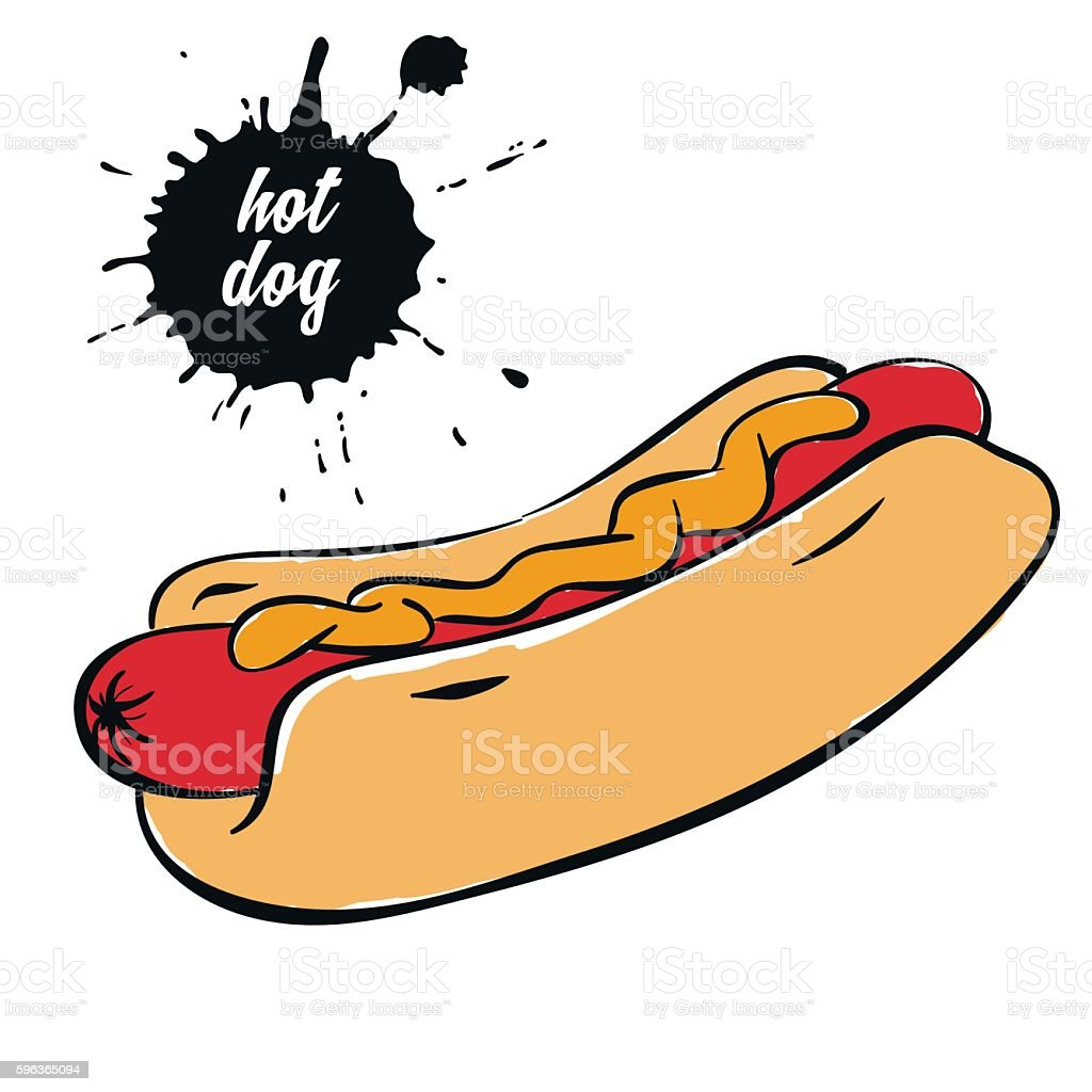hotdog with mustard vector art illustration