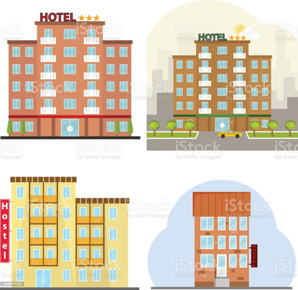 Hotel, a hotel suite, a hostel, a place to stay overnight. vector art illustration