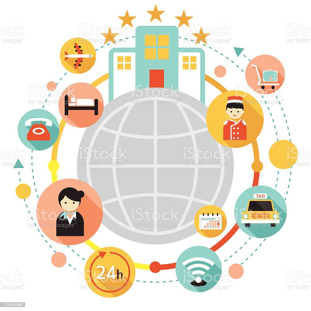Hotel Accommodation Amenities Services Icons Frame vector art illustration