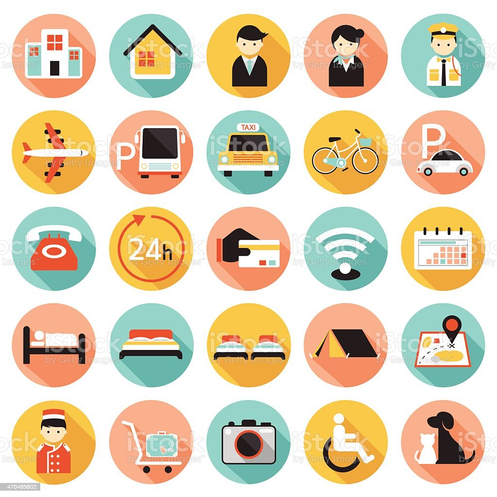 Hotel Accommodation Amenities Services Icons Set A vector art illustration
