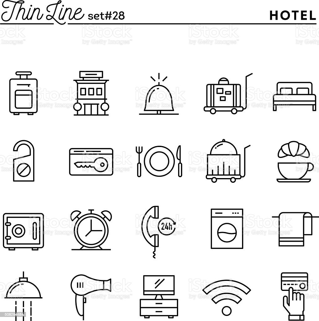 Hotel, accommodation , room service, restaurant and more vector art illustration