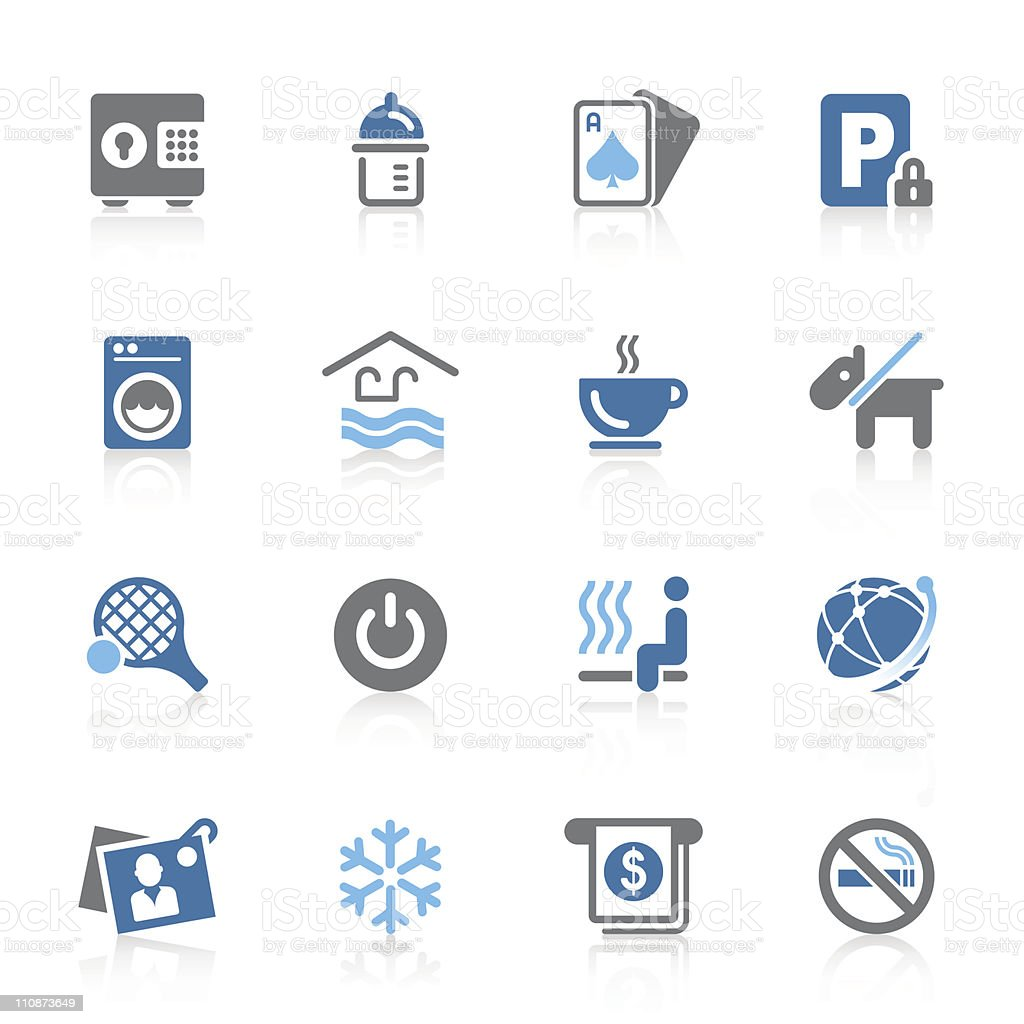 hotel amenity icons | azur series royalty-free stock vector art