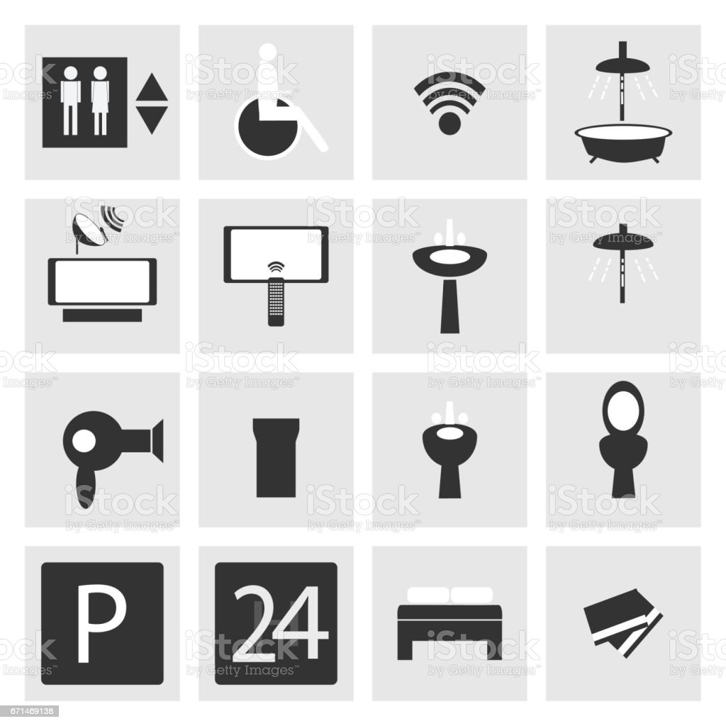 Hotel and Hospital Service and Facilities Icons vector art illustration