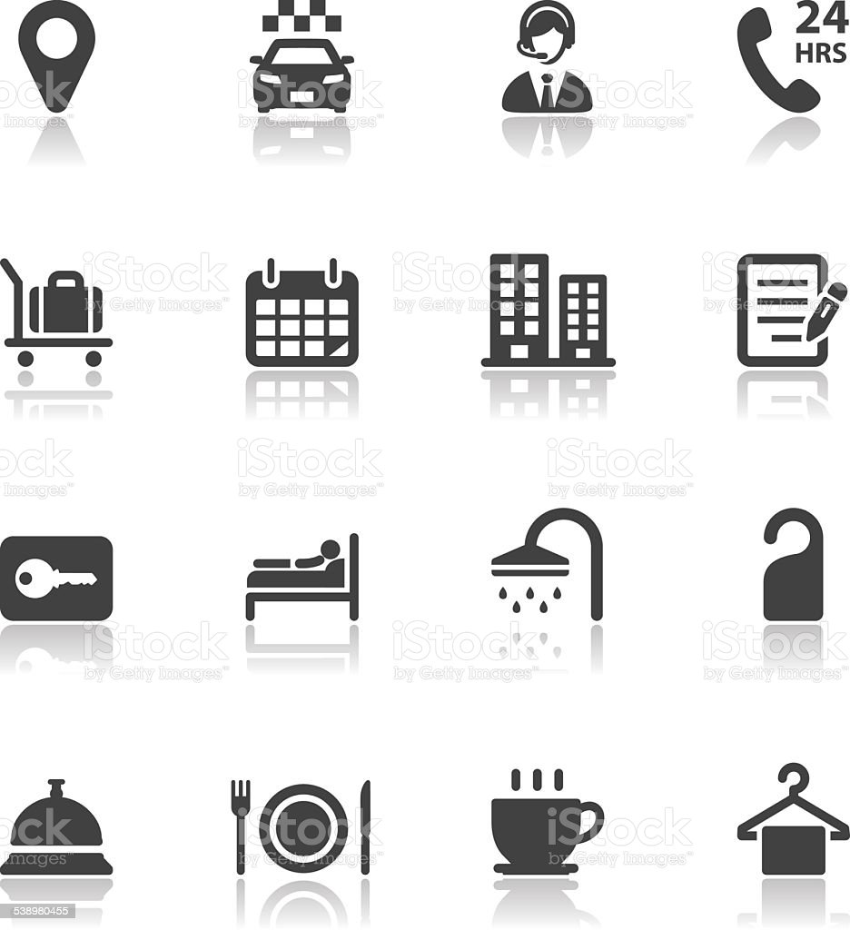 Hotel and Hotel Amenities Services Icons vector art illustration