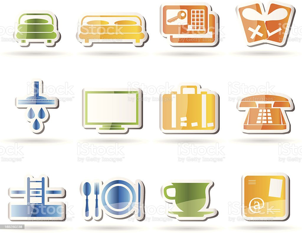 Hotel and motel icons vector art illustration