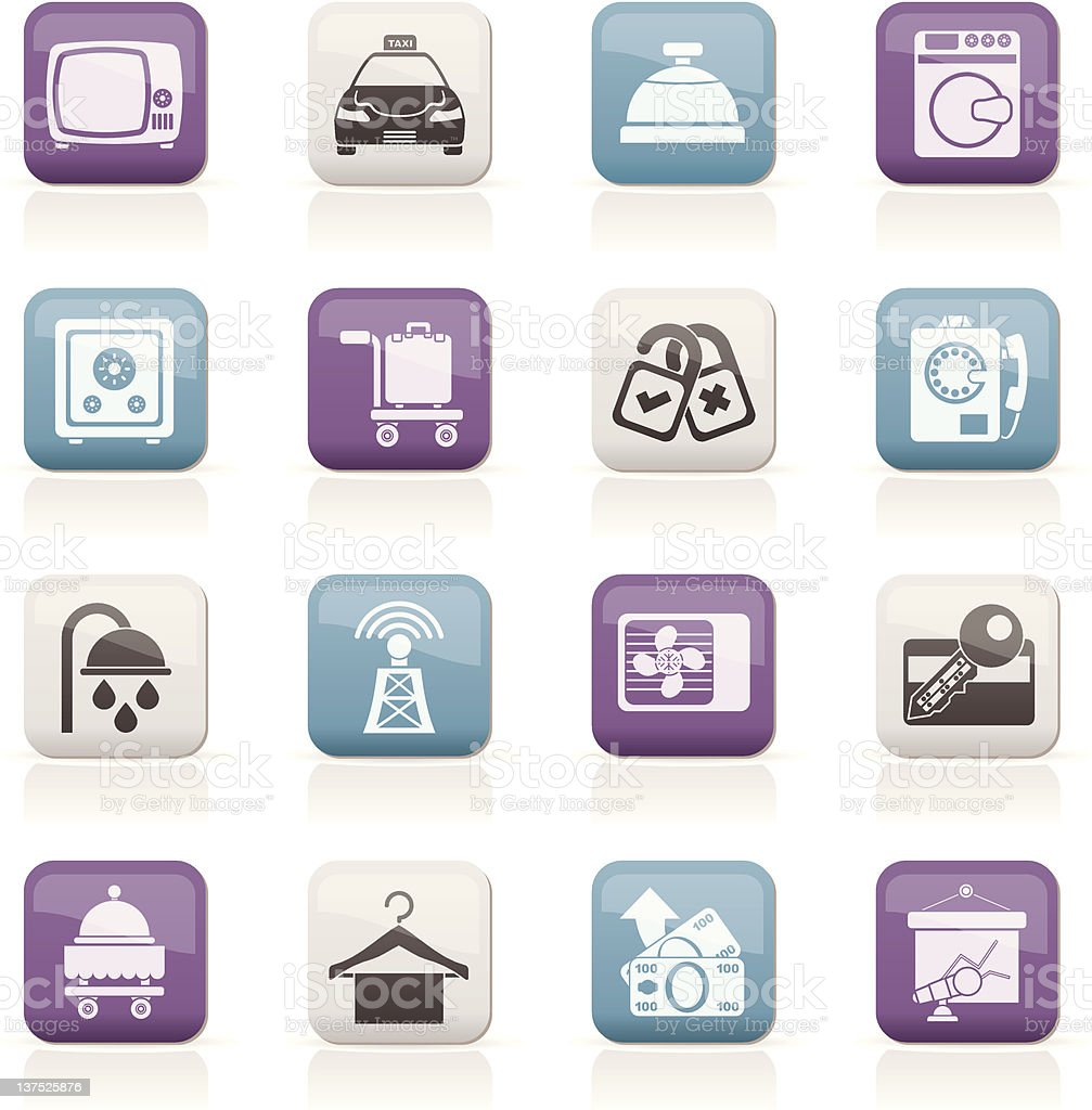 Hotel and motel room facilities icons royalty-free stock vector art