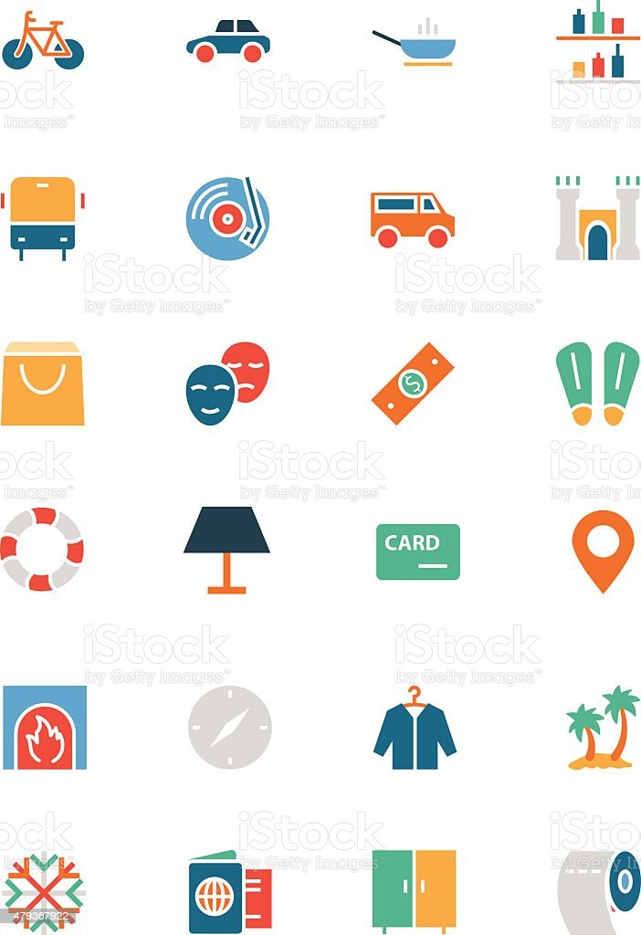 Hotel and Restaurant Colored Vector Icons 5 vector art illustration