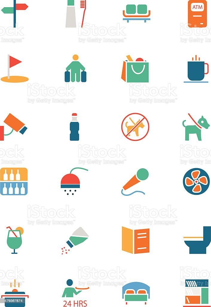 Hotel and Restaurant Colored Vector Icons 7 vector art illustration