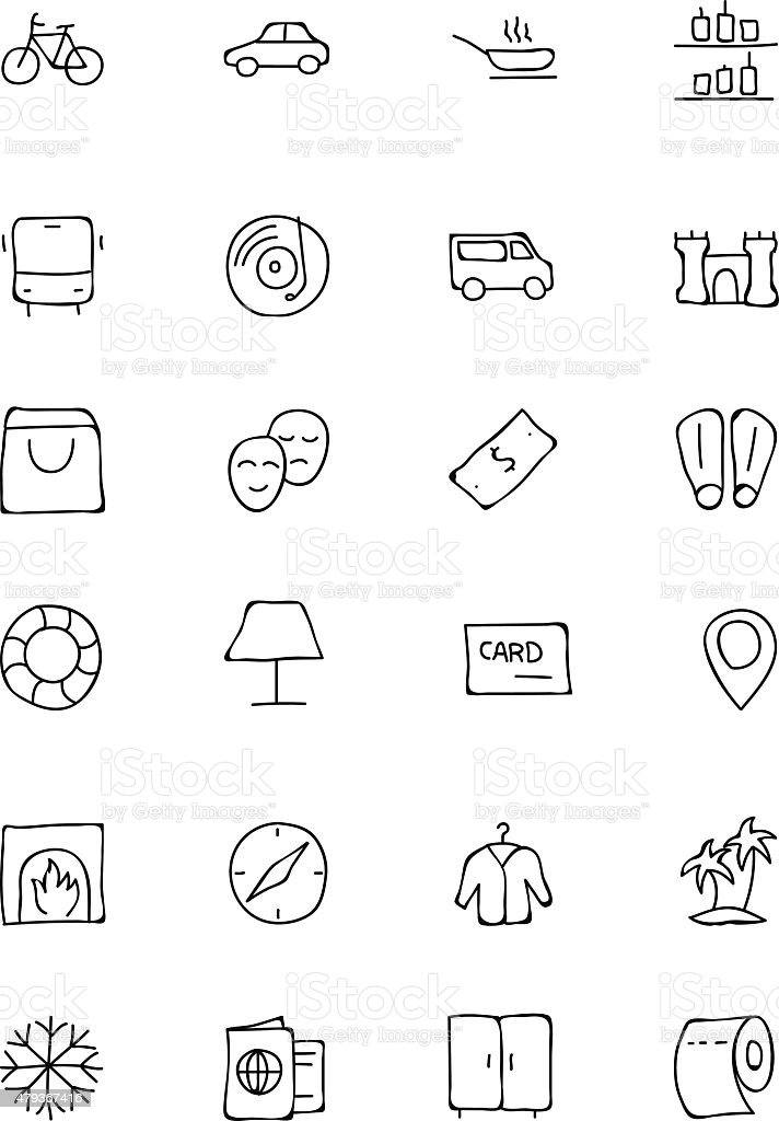 Hotel and Restaurant Doodle Icons 5 vector art illustration