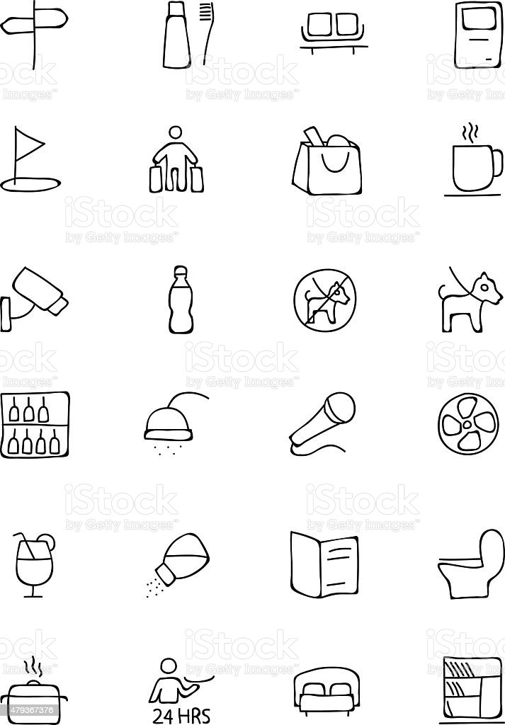 Hotel and Restaurant Doodle Icons 7 vector art illustration