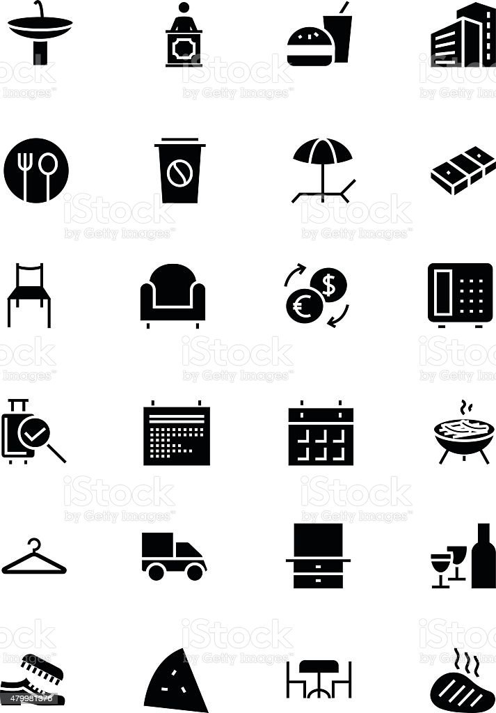 Hotel and Restaurant Vector Icons 8 vector art illustration