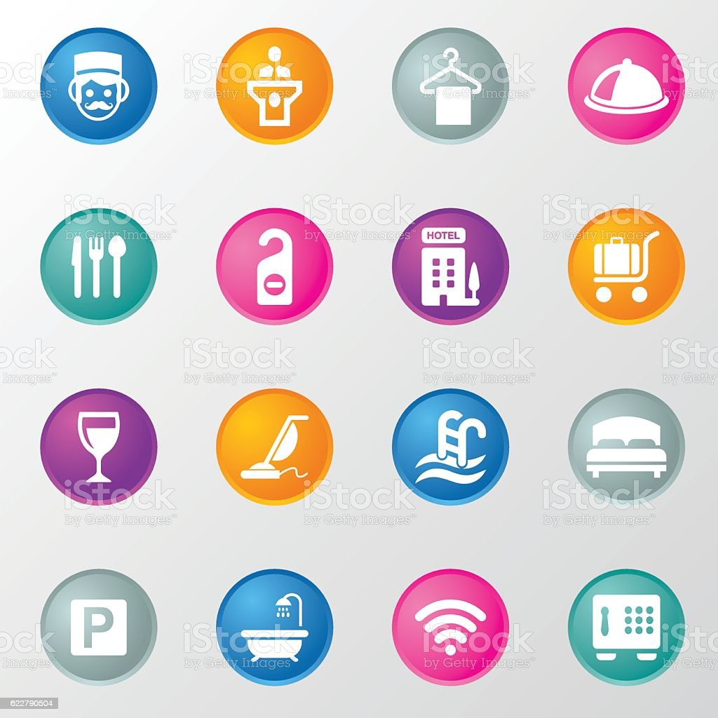 Hotel and Service Circle Color Icons vector art illustration