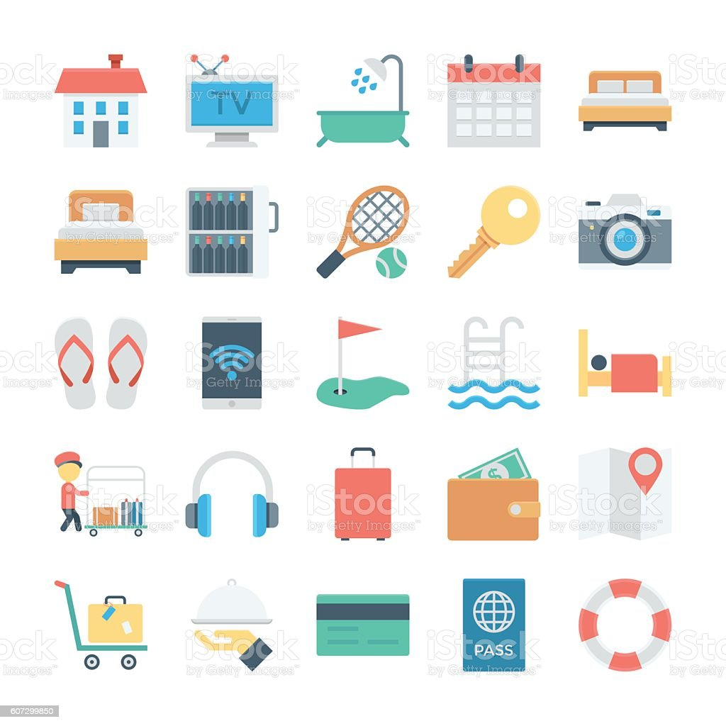 Hotel and Services Colored Vector Icons 1 vector art illustration