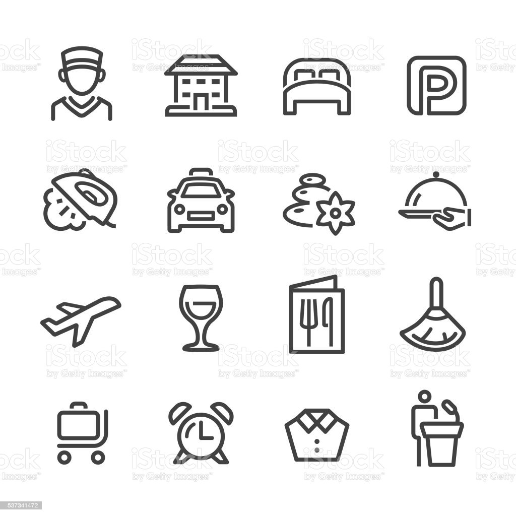 Hotel and Services Icons - Line Series vector art illustration
