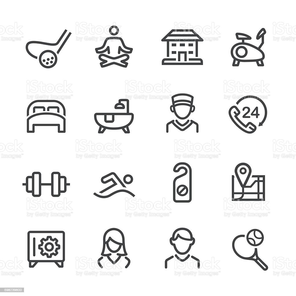 Hotel and Services Icons Set - Line Series vector art illustration
