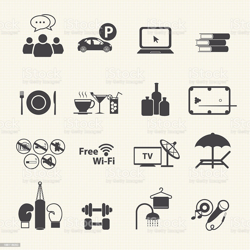 Hotel and sport club icons. Vector vector art illustration