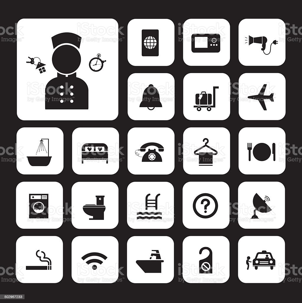 hotel and travel icon set royalty-free stock vector art