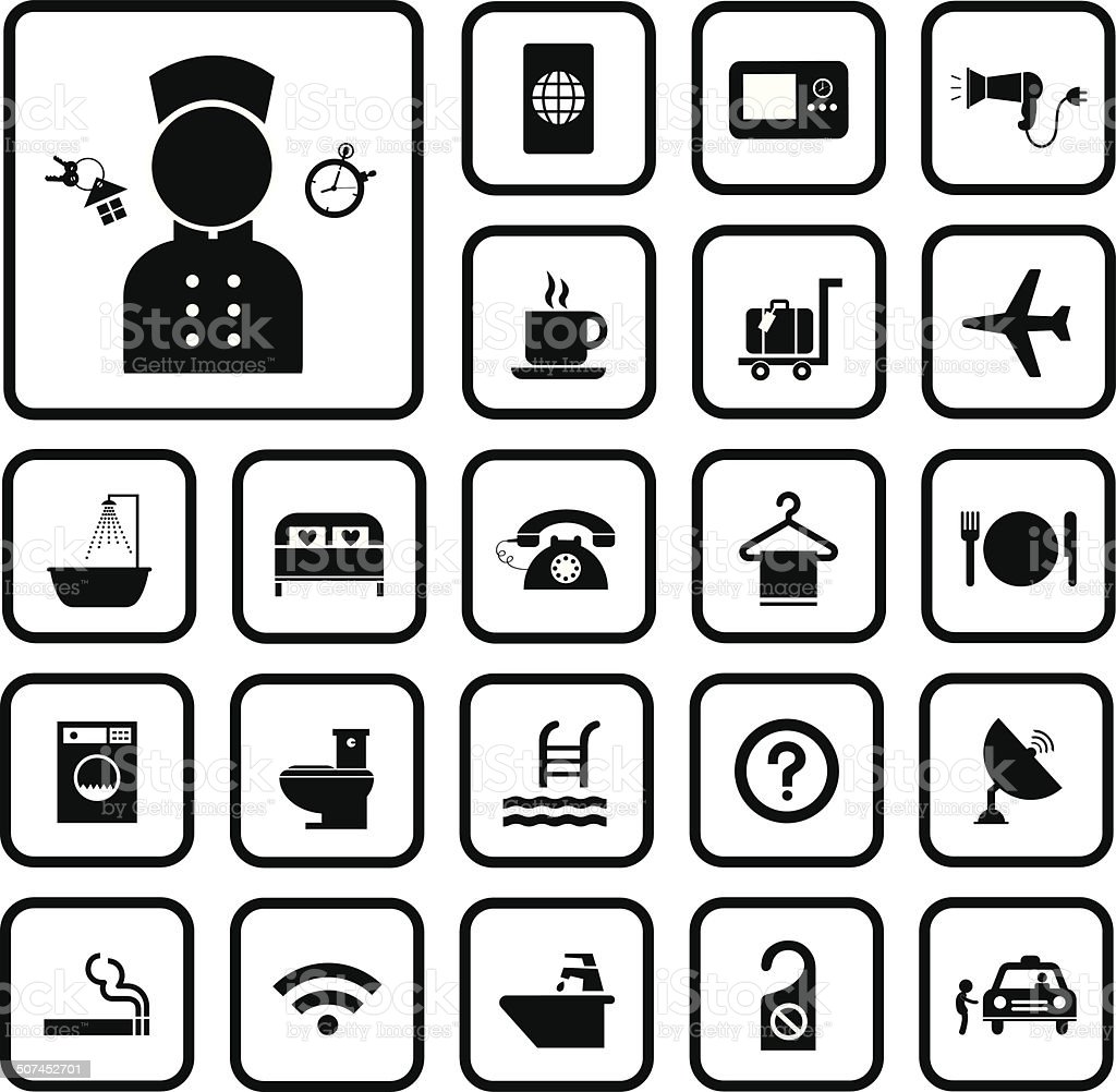 hotel and travel icon set vector art illustration
