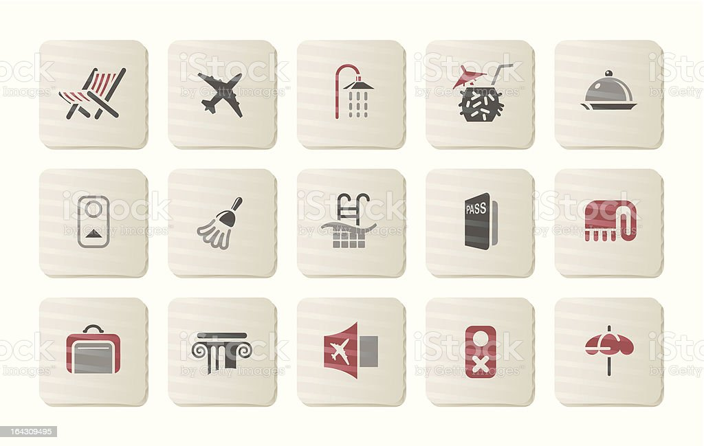 Hotel and Treval icons | Cardboard series royalty-free stock vector art