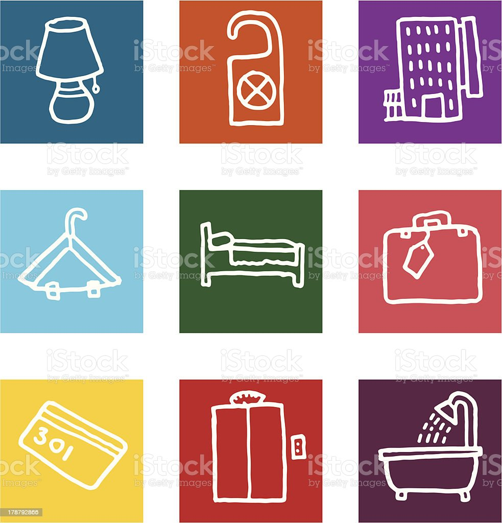 Hotel and vacation block icon set royalty-free stock vector art