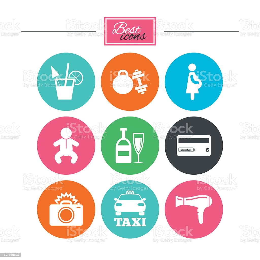 Hotel, apartment service icons. Fitness gym. vector art illustration