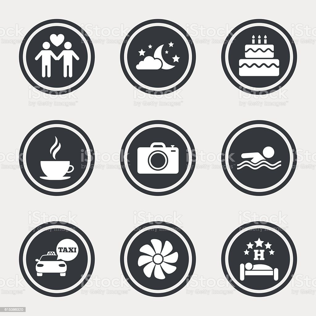 Hotel, apartment service icons. Swimming pool. vector art illustration