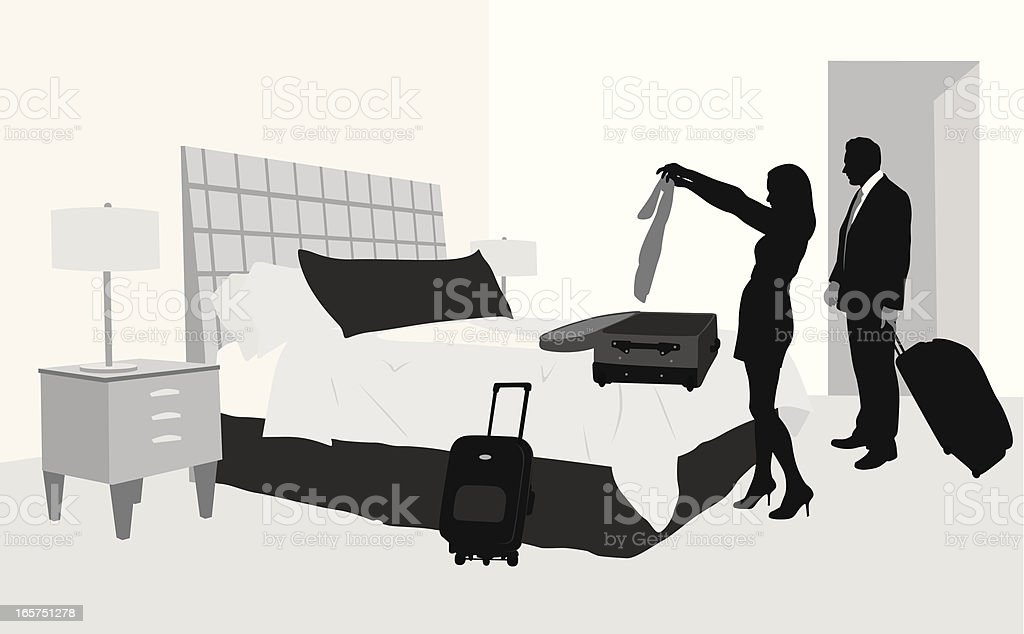 Hotel Arrival Vector Silhouette royalty-free stock vector art